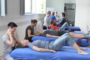 Kursteilnehmer arbeitern an Behandlungsbänken bei der Praxis im CMD-Kurs